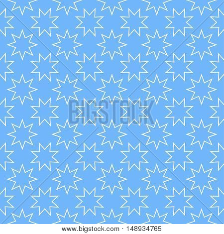Seamless bright abstract pattern with stars on blue background