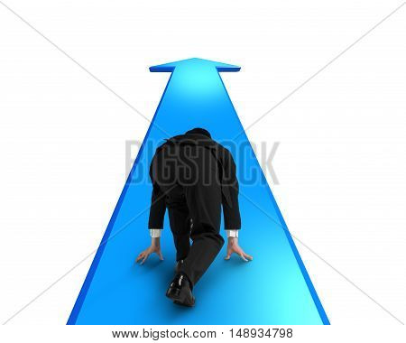 Businessman Ready To Race On Blue Arrow Going Way