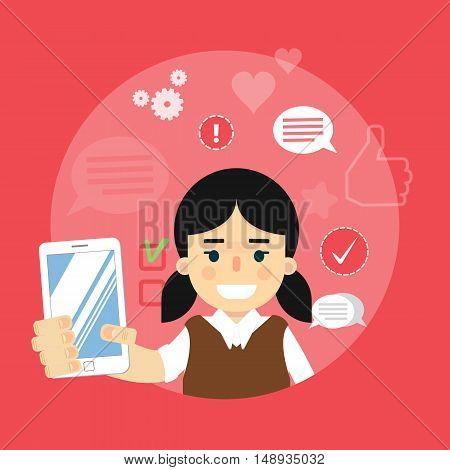 Smiling cartoon girl holding smartphone on red background with communication icons, vector illustration. Social media concept. Connecting people, chatting, international network, media app