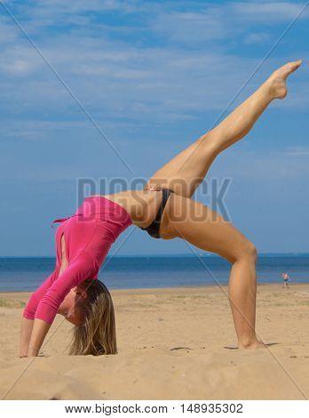 Stretching Beach Beauty