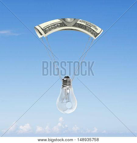Light Bulb With Money Parachute
