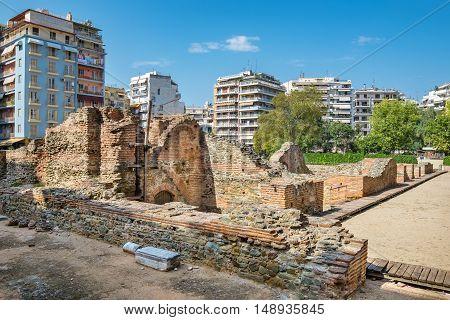 Ruins of the Imperial Palace of Galerius. Navarinou square Thessaloniki Macedonia Greece