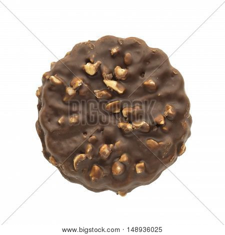 Cookie coated with chocolate and peanuts isolated