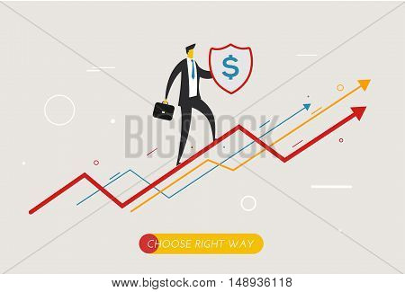 Businessman climbing graph, protects the shield. growth charts. Vector illustration Eps10 file. Success, growth rates