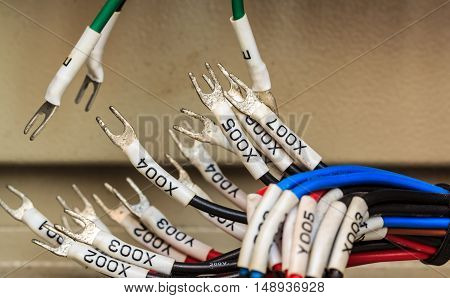 Wiring -- Program control panel with wires in industry