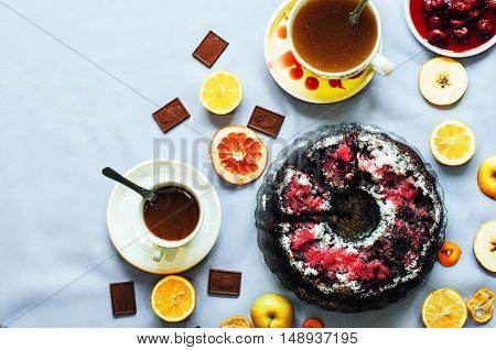 Coffee Drink Breakfast Concept. Includes A Lot Of  Plates With C