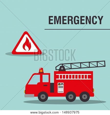 fire truck emergency vehicle rescue service and flame road sign. vector illustration