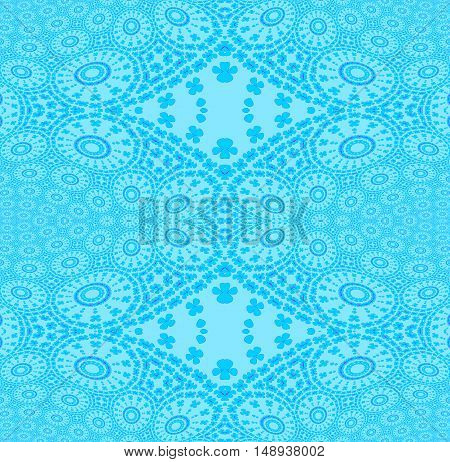 Abstract geometric plain background. Regular seamless ornaments with concentric circles and diamond pattern in turquoise blue.