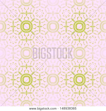 Abstract geometric seamless background. Regular circle pattern in light green shades on pink, shiny and blurred.