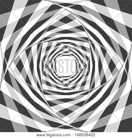 Vector Illustration. Monochrome Transparent Chessboard Striped Helix Expanding from the Center. Optical Illusion of Depth and Volume. Suitable for Web Design.