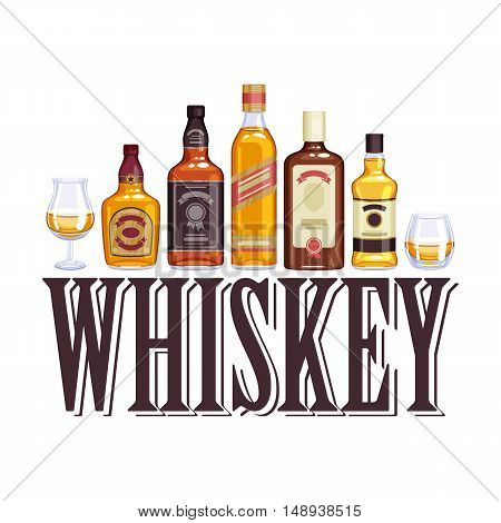 Whisky bottles and glasses. Alcohol vector illustration. Drinks bar party design.