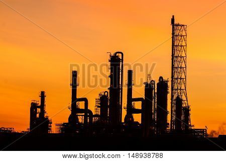 Twilight image of an oil refinery in the beautiful morning.