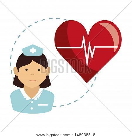 avatar woman nurse medical assitance with cardio pulso red heart. colorful design. vector illustration