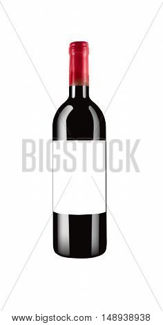 red italian wine bottle isolated and with black label and red cap