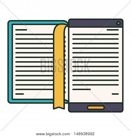 Ebook and smartphone icon. elearning reading and technology theme. Isolated design. Vector illustration