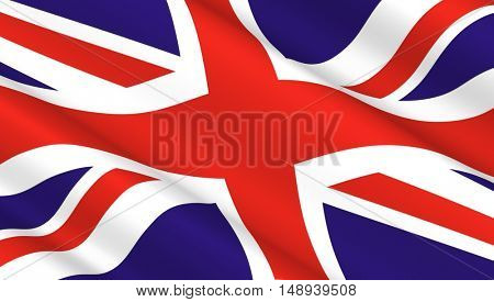 Waving flag of Great Britain. 3D illustration.