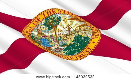 Waving flag of Florida state. 3D illustration.