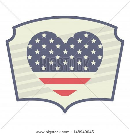 heart usa and Labor day icon. Patriotism Party festival and national theme. Colorful design. Vector illustration