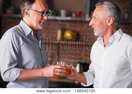 Joyful reunion. Two good-looking old gentlemen cheering with their whiskey at the kitchen