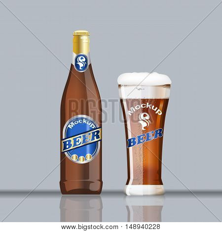 Digital vector glass and bottle of brown beer with bubbles mockup, realistic flat style, isolated and ready for your design and logo