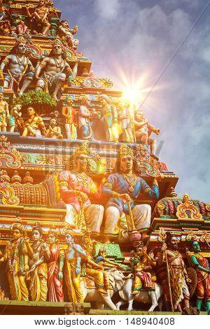 Gopuram (tower) of Hindu temple Kapaleeshwarar in Chennai, Tamil Nadu, India
