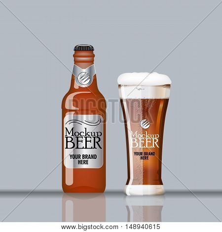Digital vector glass and bottle of dark brown beer with bubbles mockup, realistic flat style, isolated and ready for your design and logo