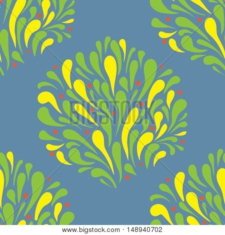 decorative seamless pattern stylized leaves and splashing water in autumn colors on a gray background
