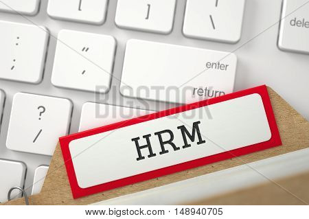 HRM written on Red Sort Index Card on Background of White Modern Computer Keyboard. Closeup View. Selective Focus. 3D Rendering.