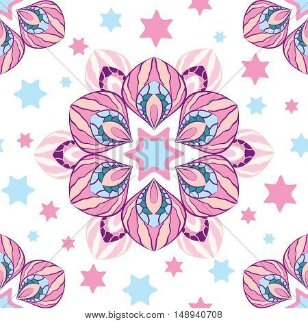 Abstract floral seamless pattern exotic pink petals on a white background with scattered stars