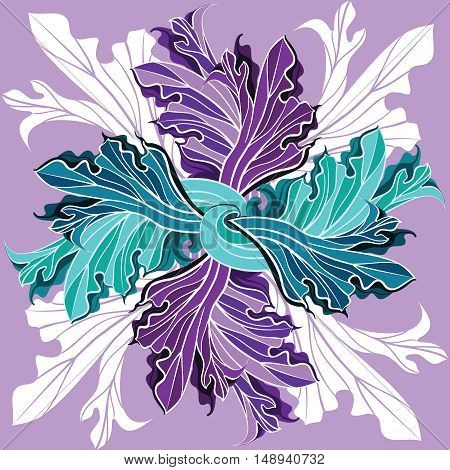 Abstract exotic floral pattern interlacing stylized leaves in shades of purple