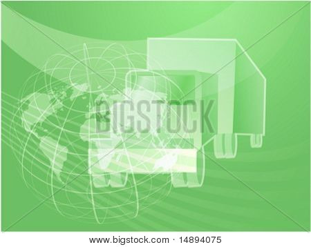 Illustration of a truck showing land transport