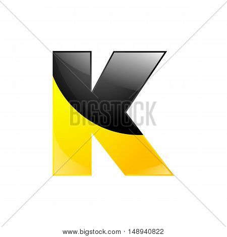 Creative yellow and black symbol letter K for your application or company design alphabet Graphics 3d letter.