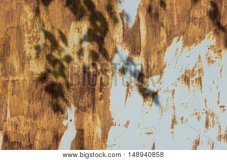 Rusty steel garage door. Strips of rusting as the strokes of paint on a gray metal background. The shadow of the branches of birch.