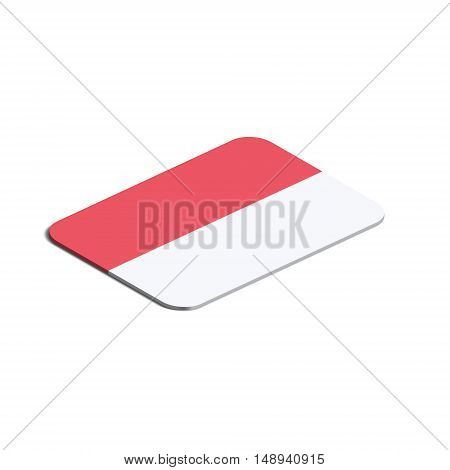 Flag of Indonesia. Background white. Flag of Indonesia isolated. 3d vector eps.