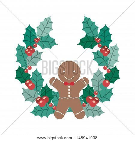 Coockie and crown icon. Merry Christmas season and decoration theme. Isolated design. Vector illustration