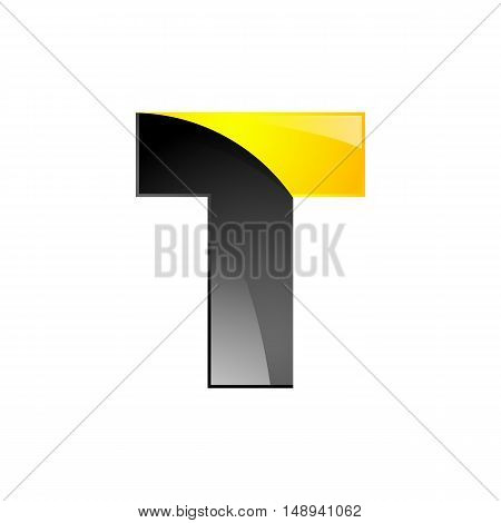 Creative yellow and black symbol letter T for your application or company design alphabet Graphics 3d letter.