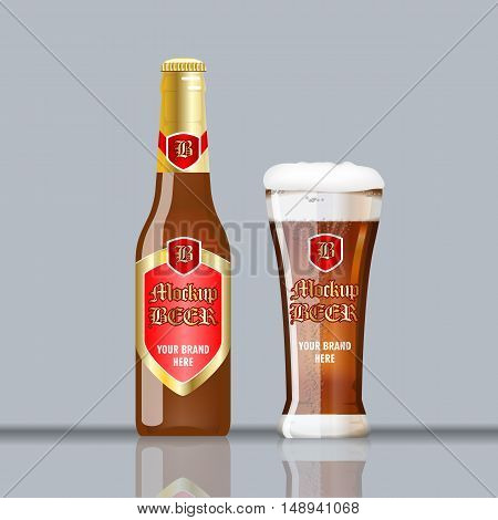 Digital vector glass of brown beer with foam and bubble mockup, red and golden bottle, realistic flat style, isolated and ready for your design and logo