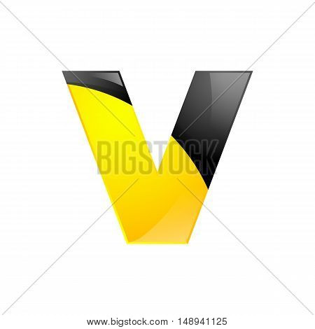 Creative yellow and black symbol letter V for your application or company design alphabet Graphics 3d letter.