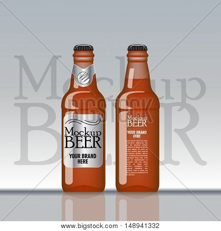 Digital vector brown beer mockup, silver and black bottle, realistic flat style, isolated and ready for your design and logo