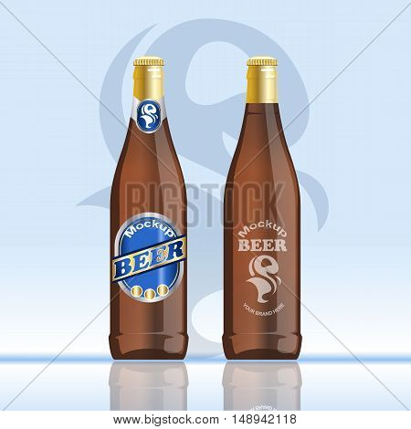 Digital vector brown beer mockup, blue and golden bottle, realistic flat style, isolated and ready for your design and logo