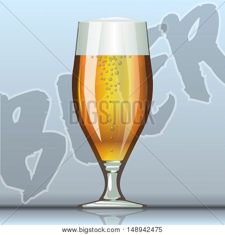 Digital vector glass of brown beer with bubbles mockup, realistic flat style, isolated and ready for your design and logo