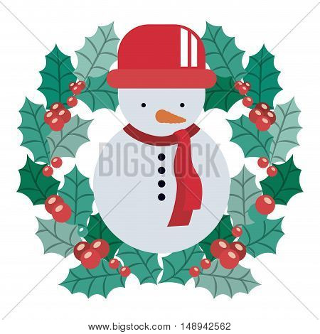 Snowman and crown icon. Merry Christmas season and decoration theme. Isolated design. Vector illustration