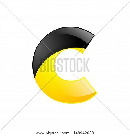 Creative yellow and black symbol letter C for your application or company design alphabet Graphics 3d letter.