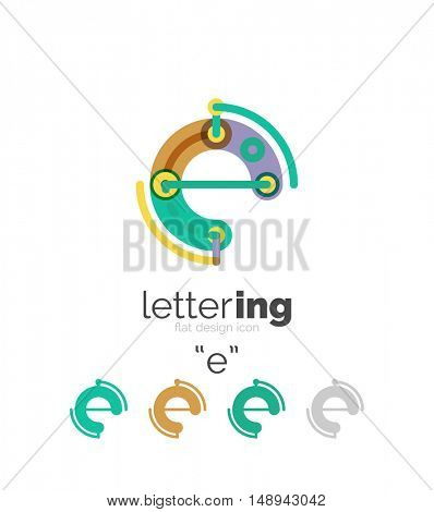 Letter logo business linear icon on white background. Alphabet initial letters company name concept. Flat thin line segments connected to each other