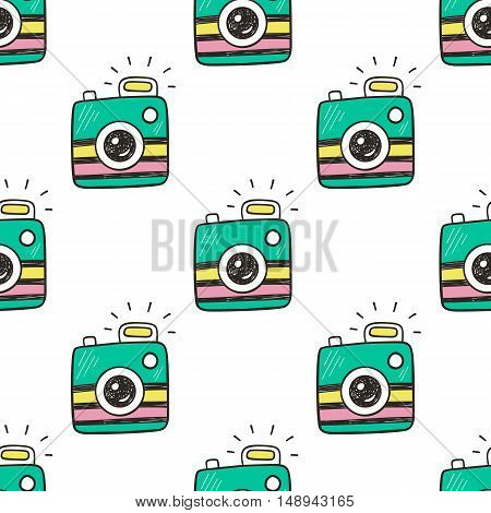 Doodle retro photo cameras seamless pattern. 80s pop art design, patches and stickers collection