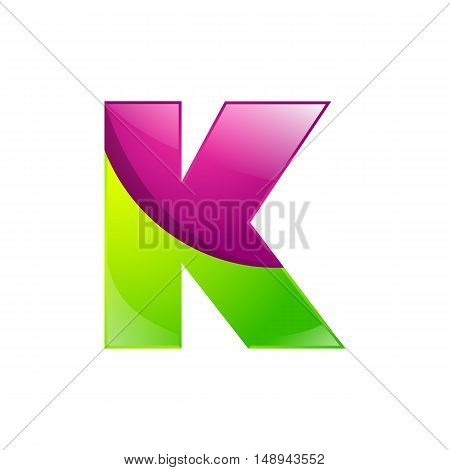 K letter green and pink logo design template elements an icon for application company.