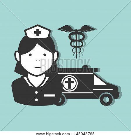 avatar woman nurse medical assitance with medicine caduceus symbol and emergency ambulance vehicle. vector illustration