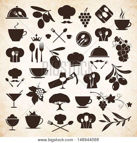 Label and logo set for restaurant menu design. Food and drinks logotype symbol design