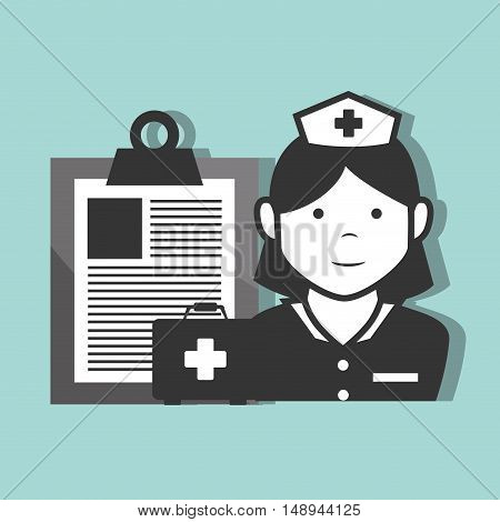 avatar woman nurse medical assitance with medicine report table and health kit box icon. vector illustration