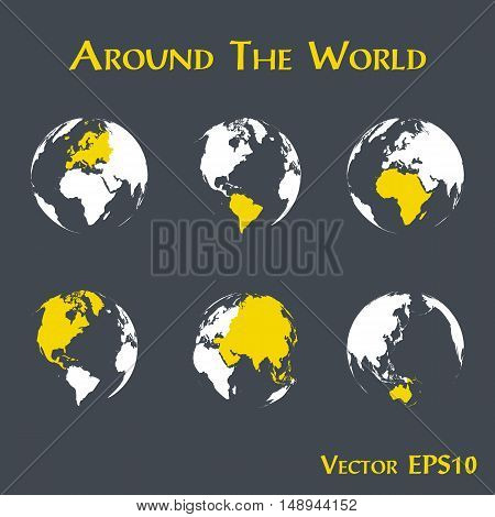 Around the world ( outline of world map and continent )